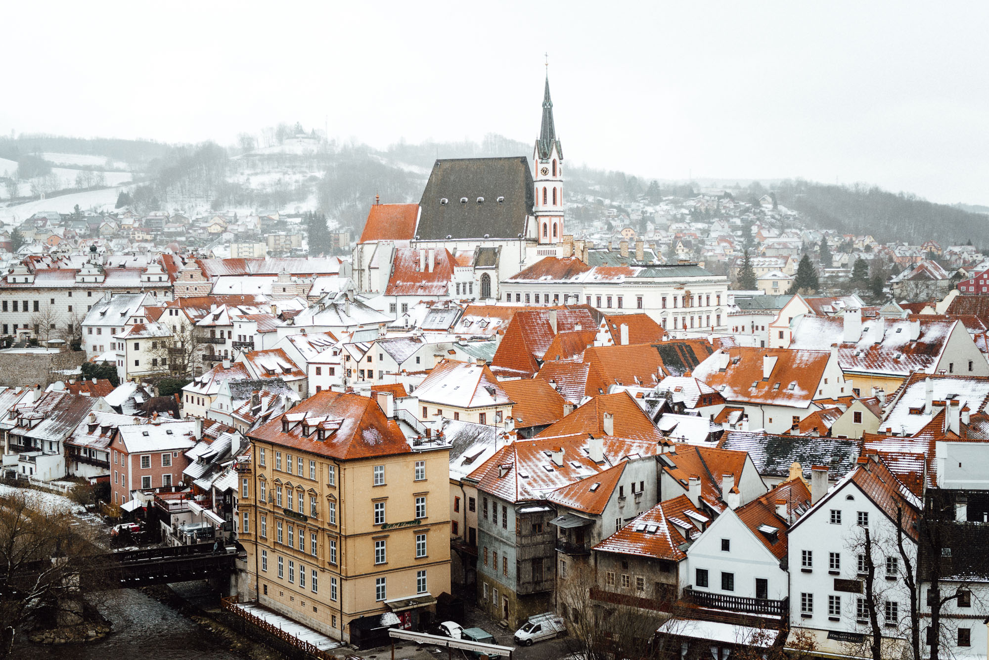 View of Cesky Krumlov from Cesky Krumlov Castle grounds in Czech Republic