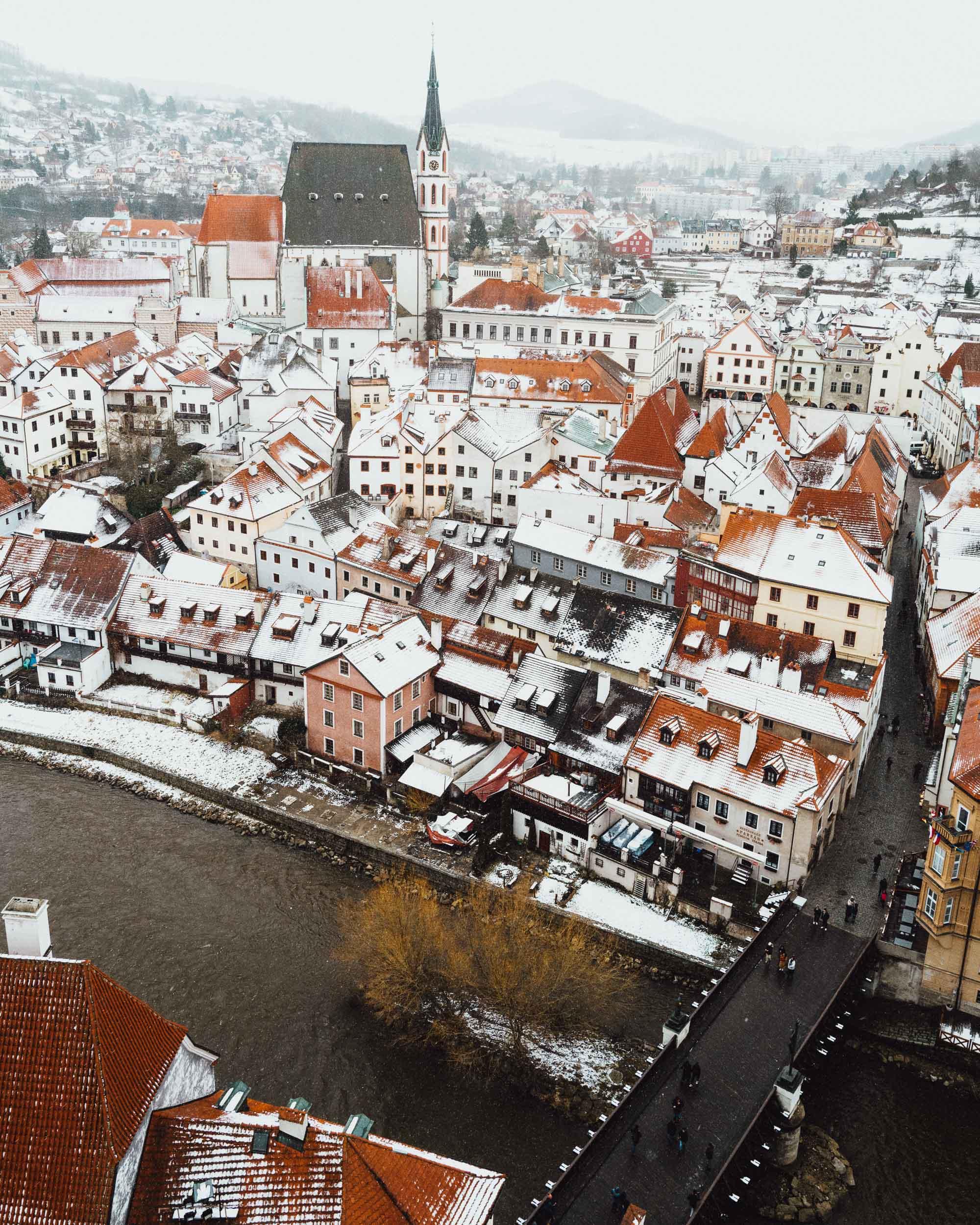 View of Cesky Krumlov from Cesky Krumlov Castle Tower
