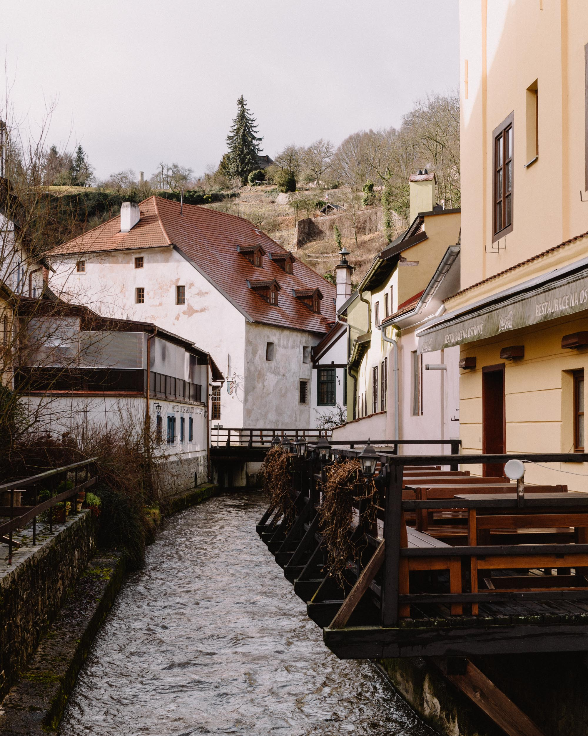 Buildings on the water in Cesky, Krumlov.
