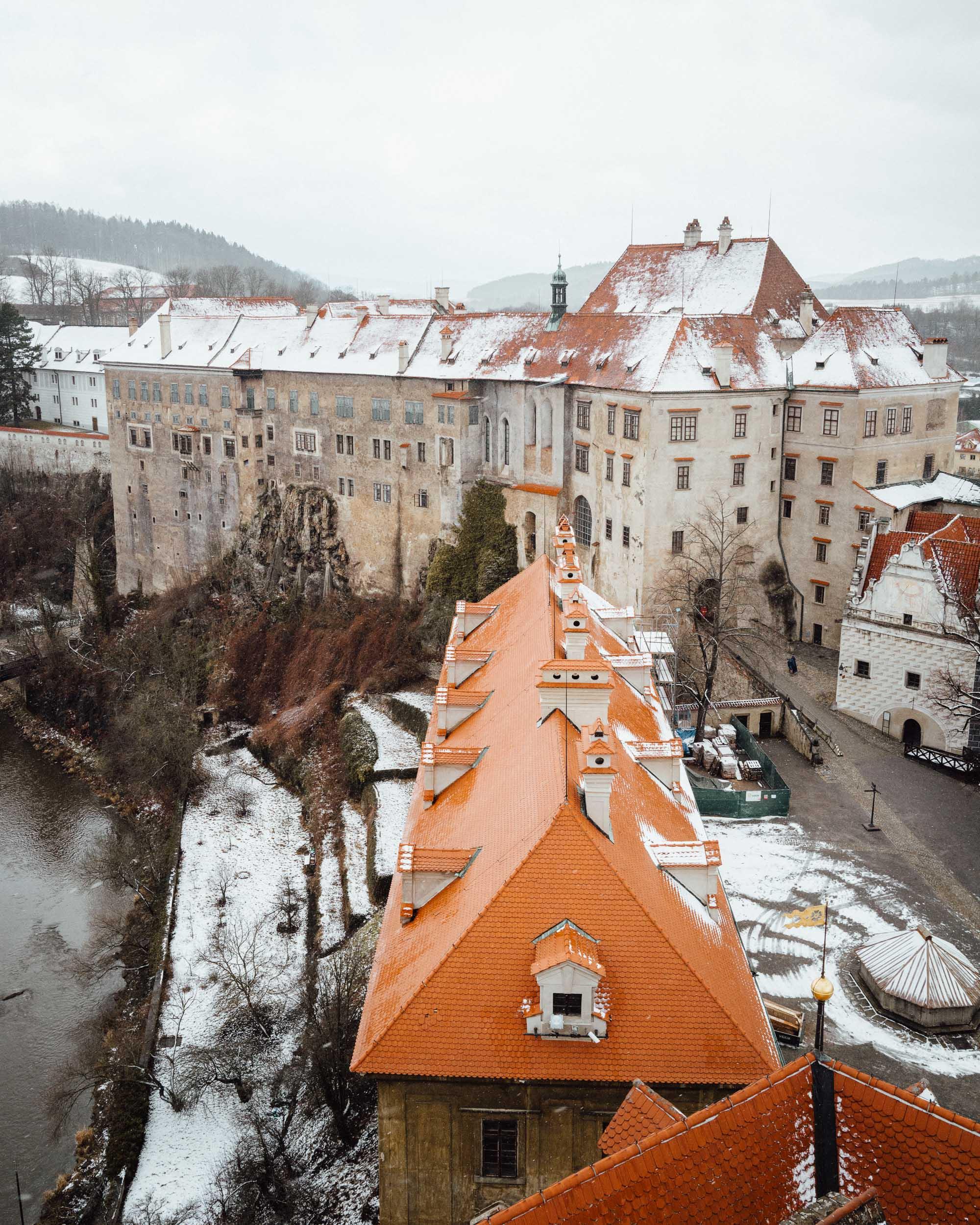 View of Cesky, Krumlov from Cesky Krumlov Castle Tower.
