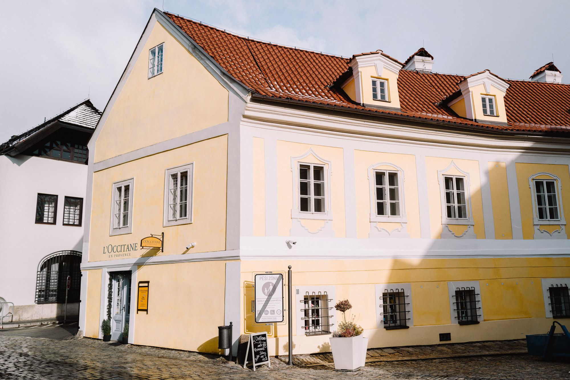 Bright yellow building in Cesky, Krumlov