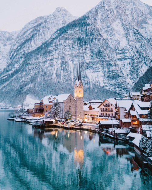 Hallstatt Austria famous viewpoint in Winter