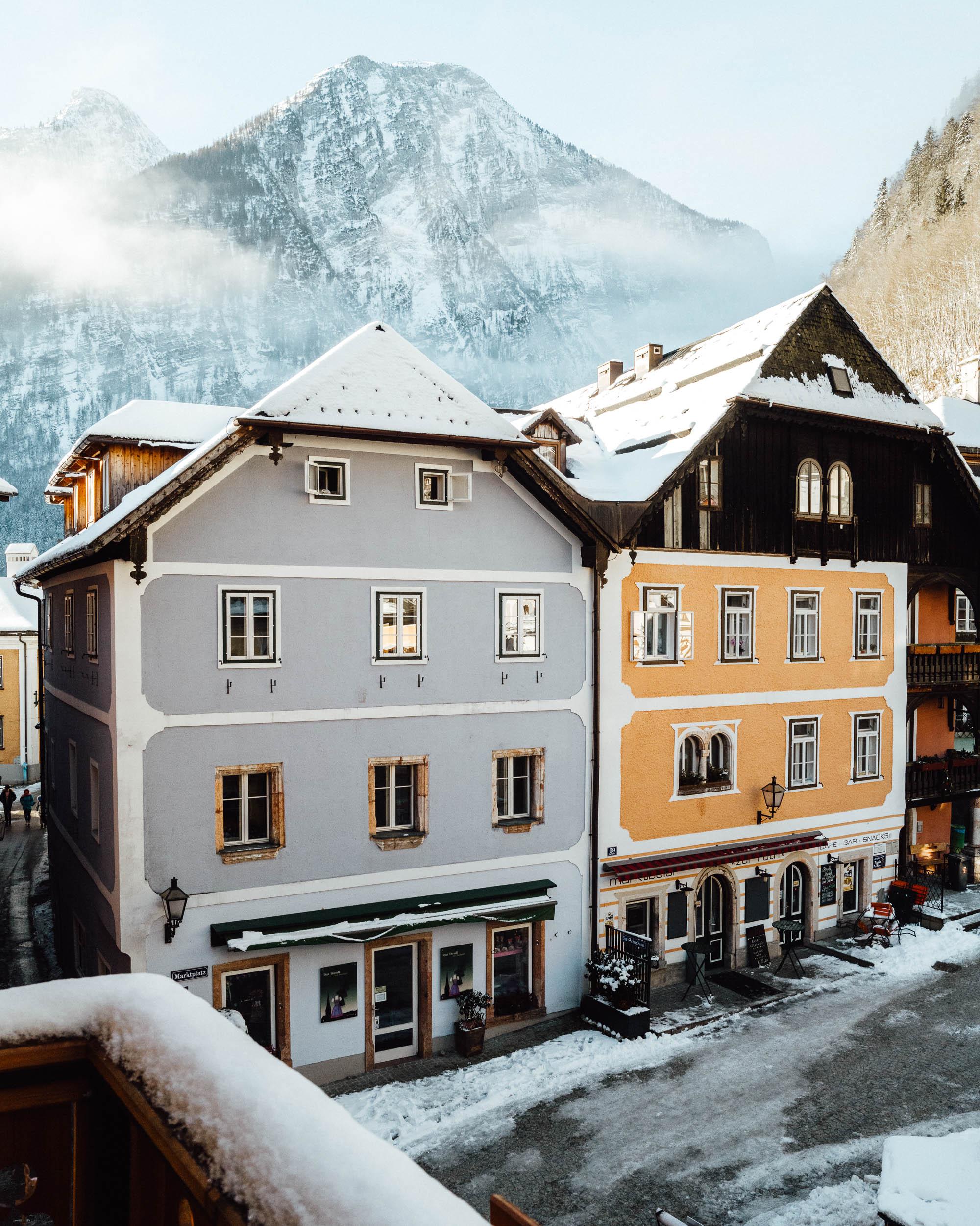 Balcony view at Seehotel Gruner Baum Hallstatt hotel in Austria