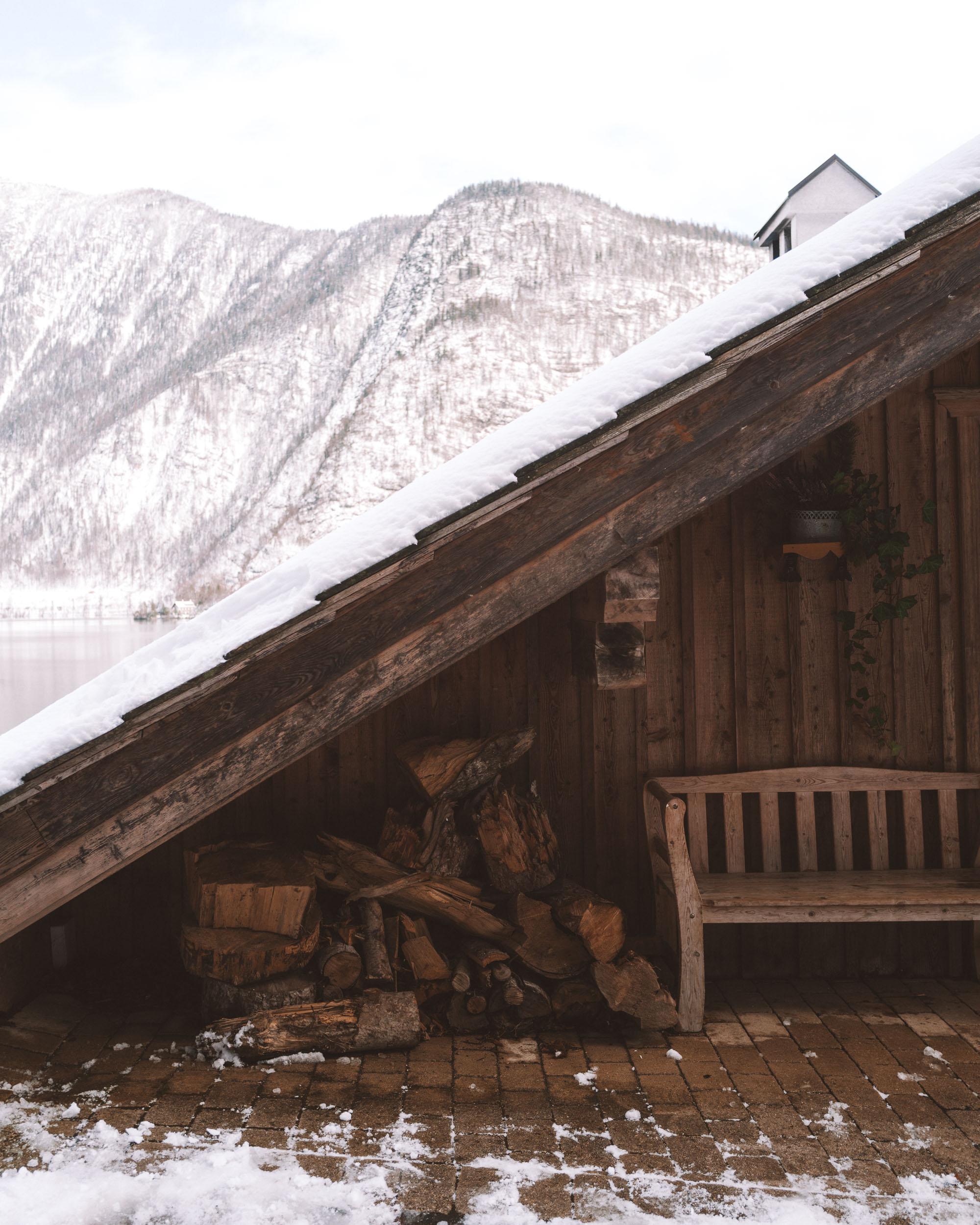 Houses in Hallstatt Austria covered in snow
