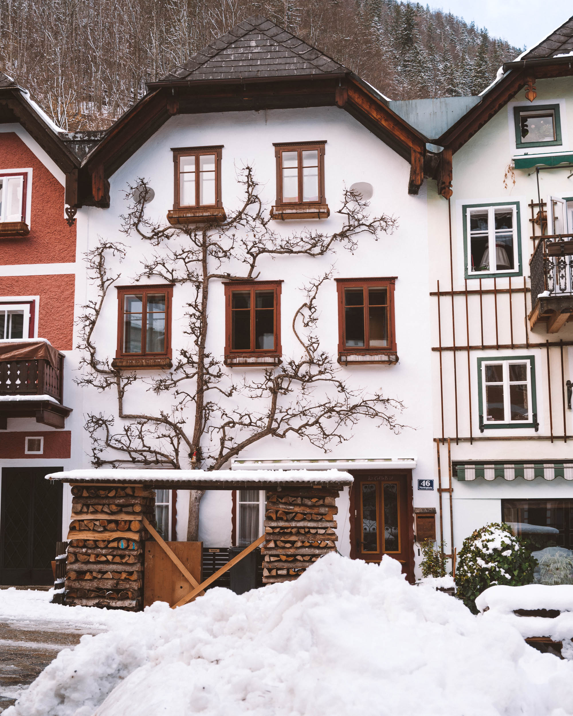 Hallstatt main square with gingerbread houses in Austria