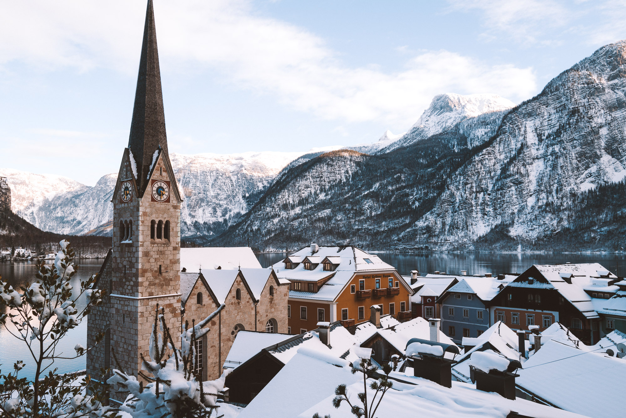 Hallstatt church and mountain range in Austria