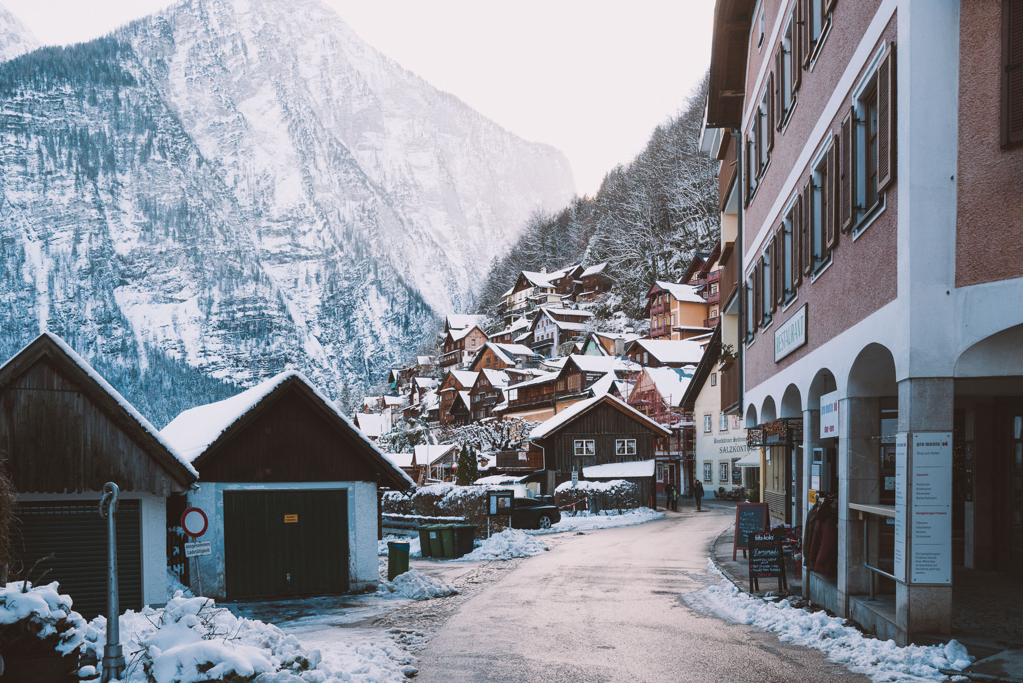 Dowtown Hallstatt Austria in the wintertime during the morning