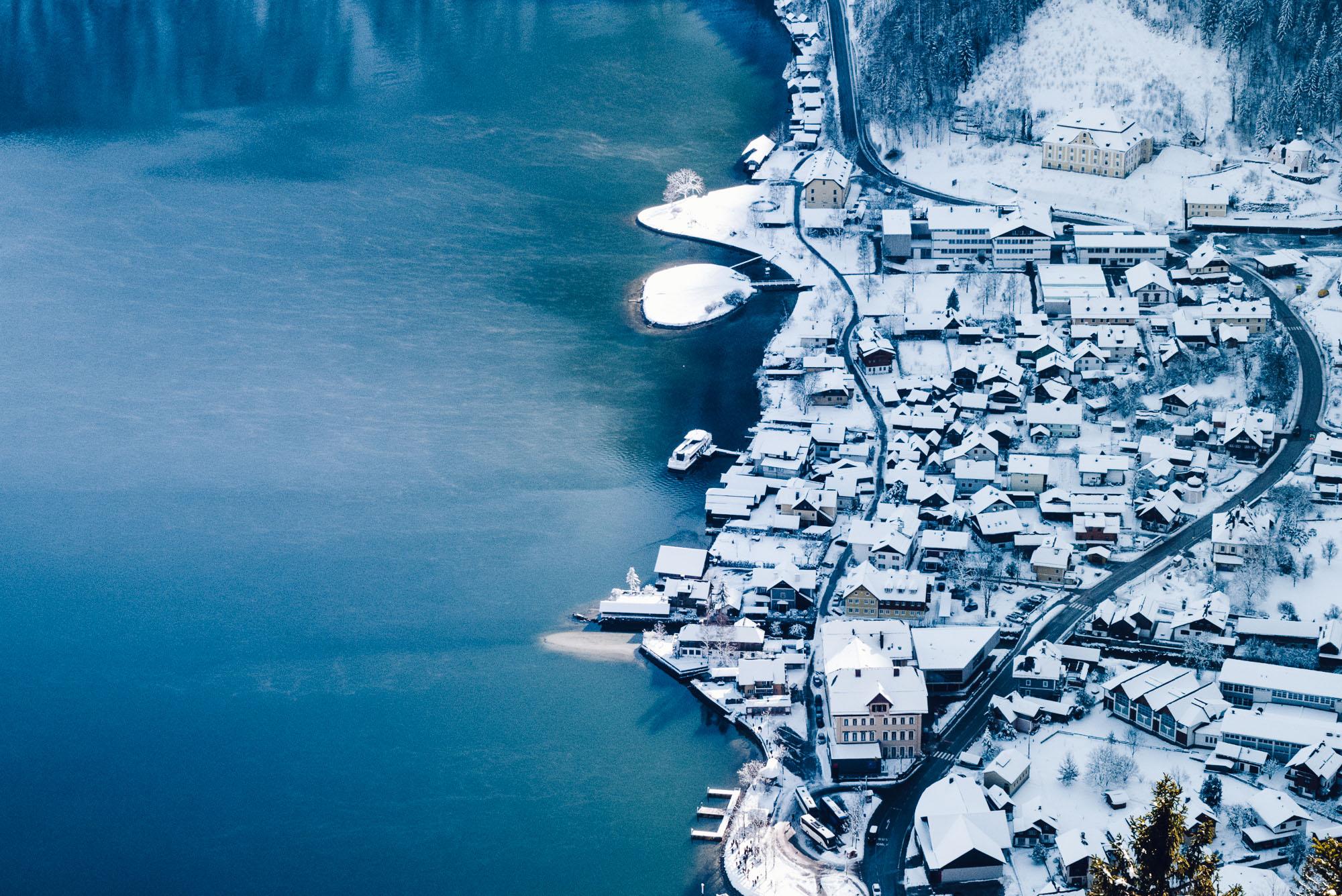 View from Hallstatt skywalk in winter World Heritage viewpoint