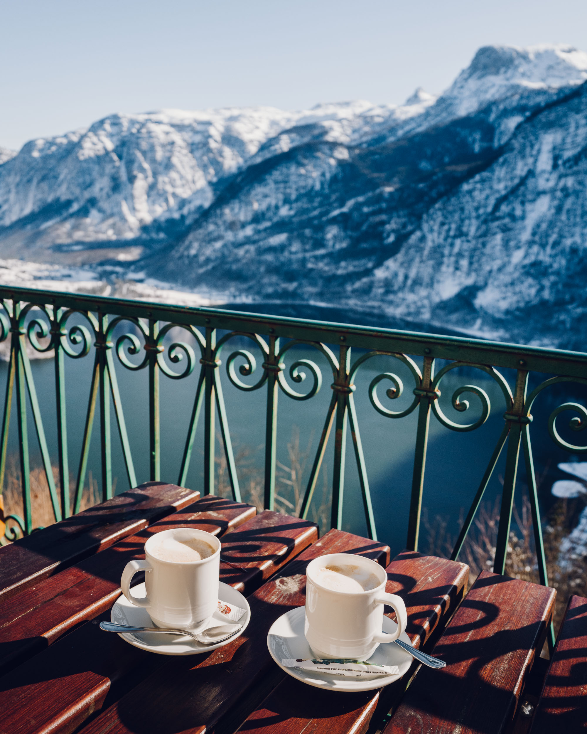 Coffee from the skywalk view and cafe in Hallstatt Austria