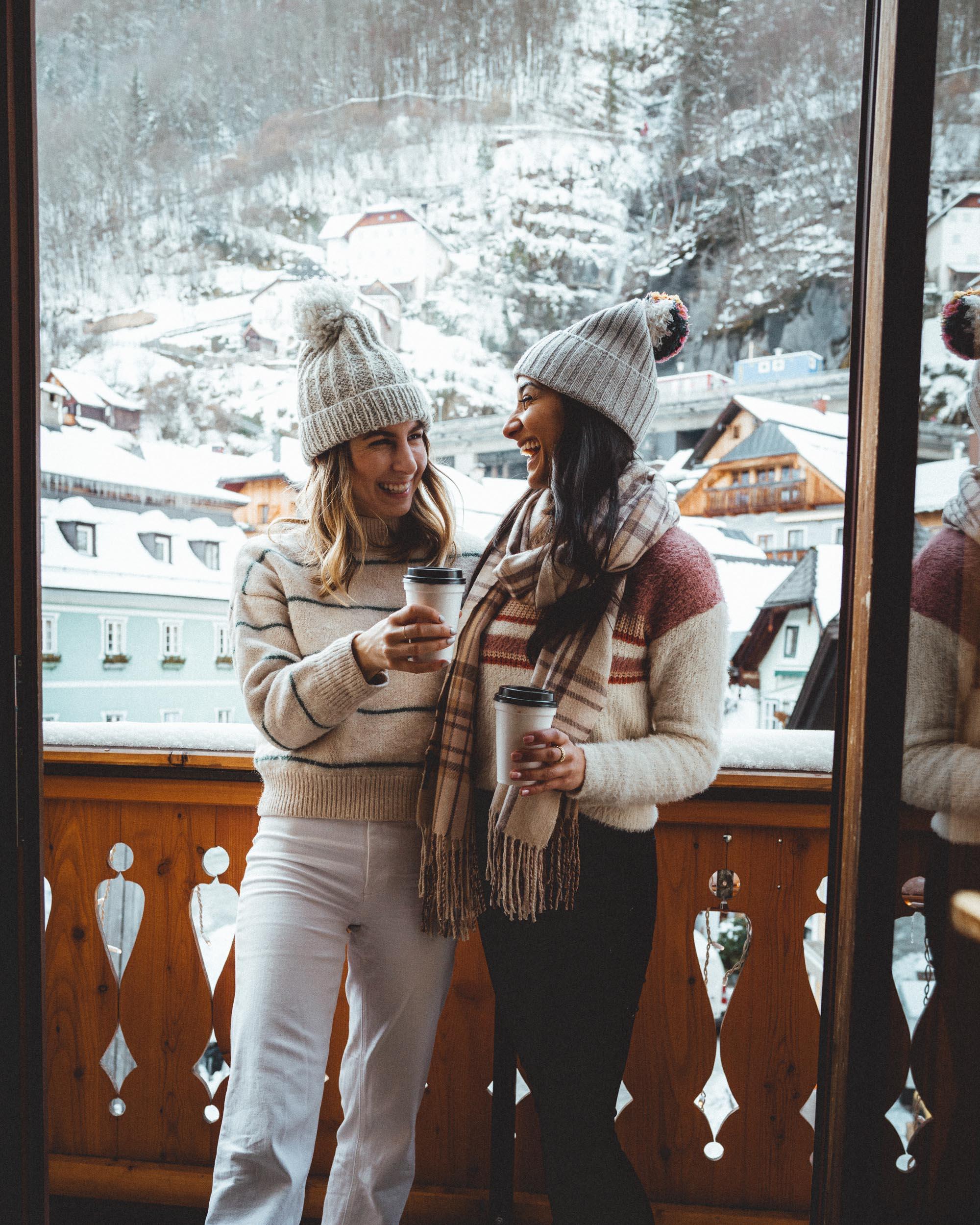 On our balcony at seehotel gruner baum in Hallstatt for a girls trip