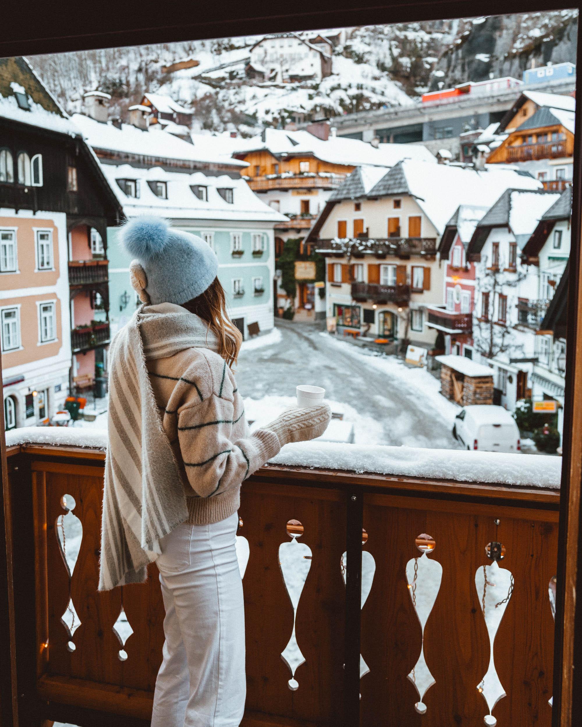 Balcony at seehotel gruner baum Hallstatt hotel in Austria