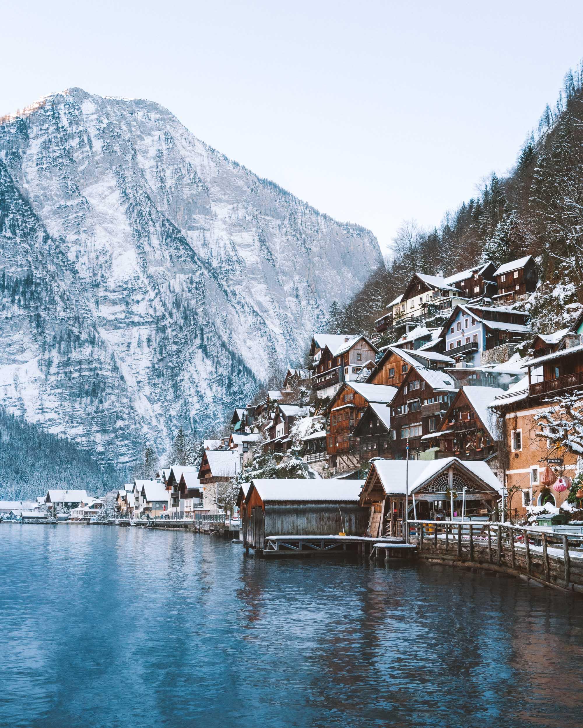 Houses in Hallstatt Austria on the mountainside overlooking the lake