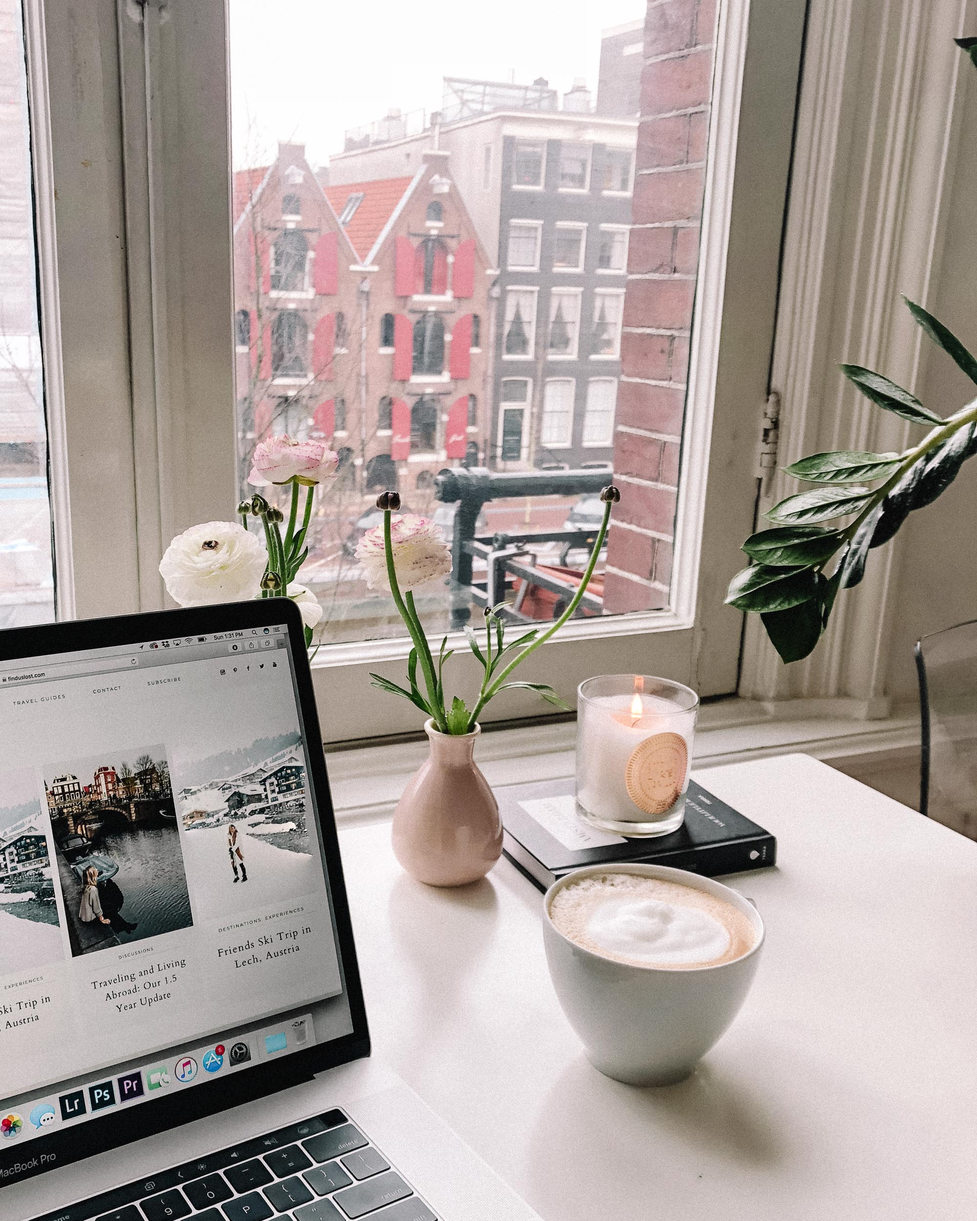 Laptop in Amsterdam apartment working from home