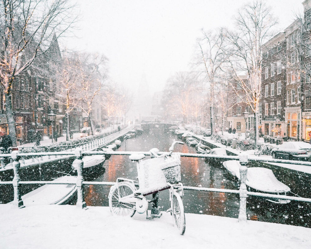 Amsterdam Canals Snow Print Find Us Lost Prints