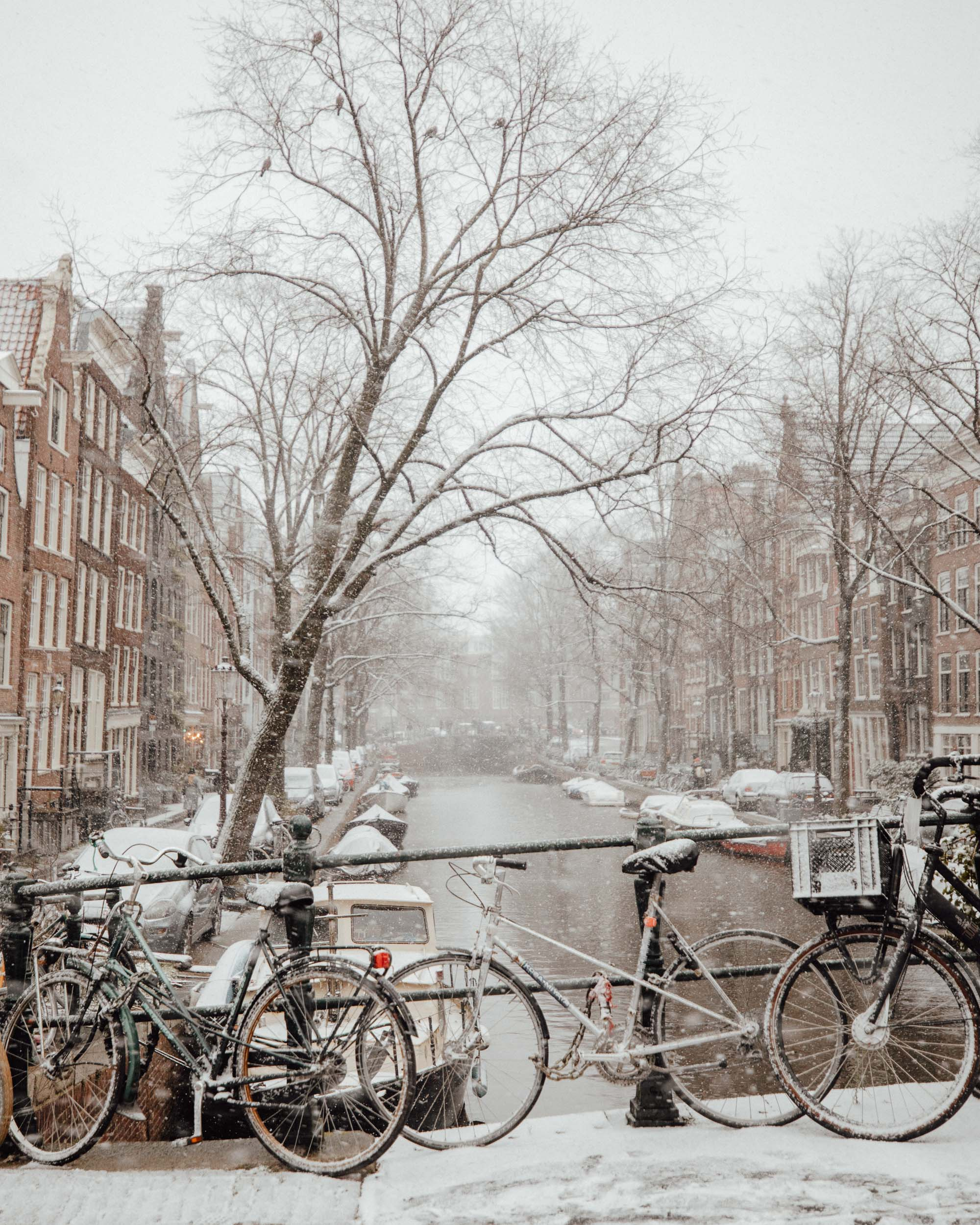 Amsterdam canals in winter with snow