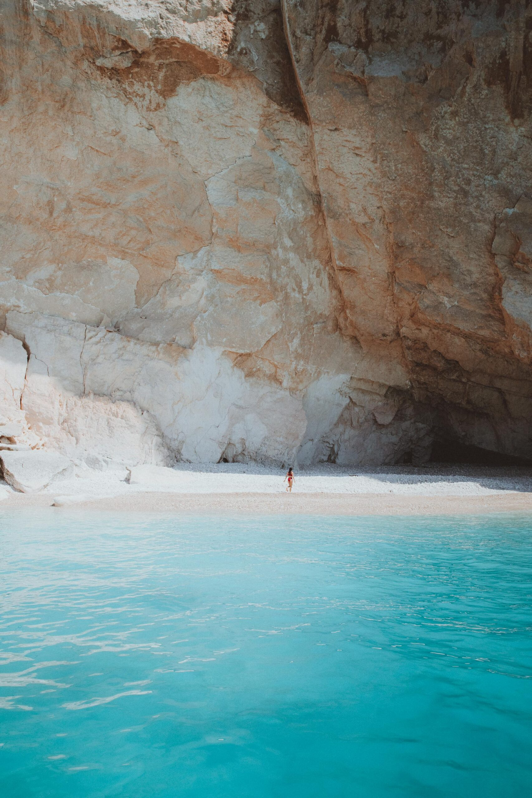 Empty beach near Mizithres by boat in Zakynthos Greek Islands