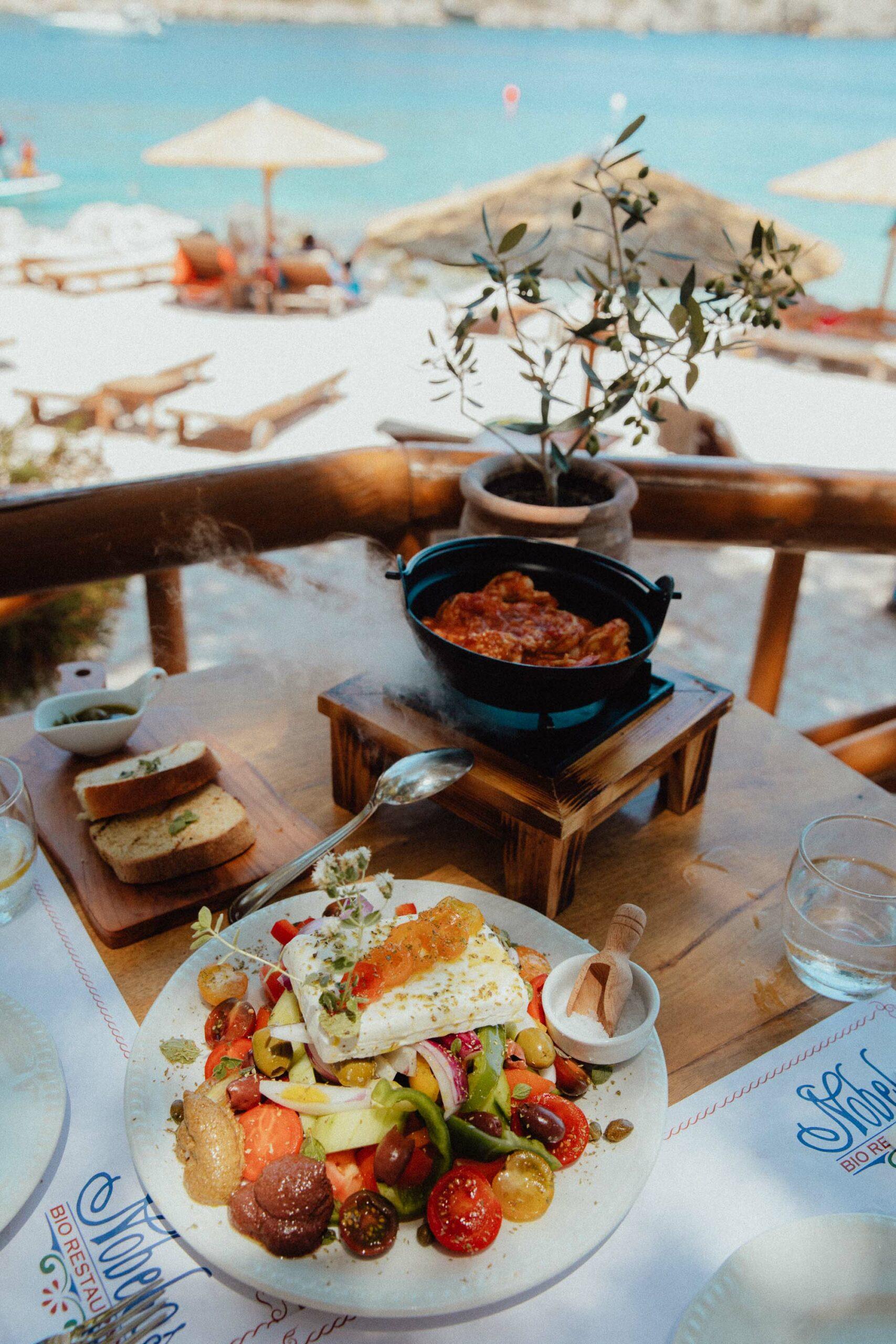 Greek salad lunch at Nobelos bio restaurant in Zakynthos Greece