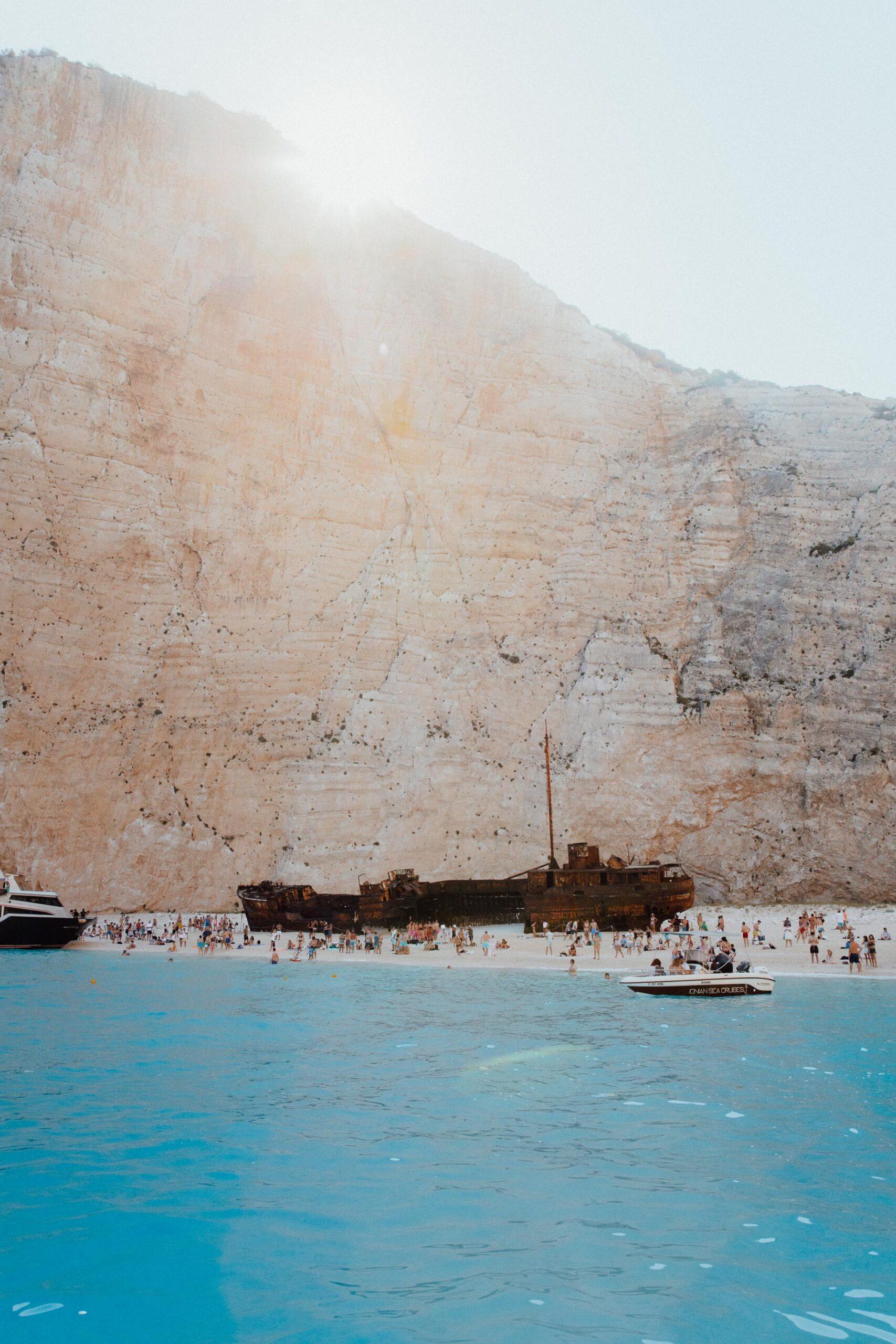 Navagio shipwreck beach boat in Zakynthos Greece