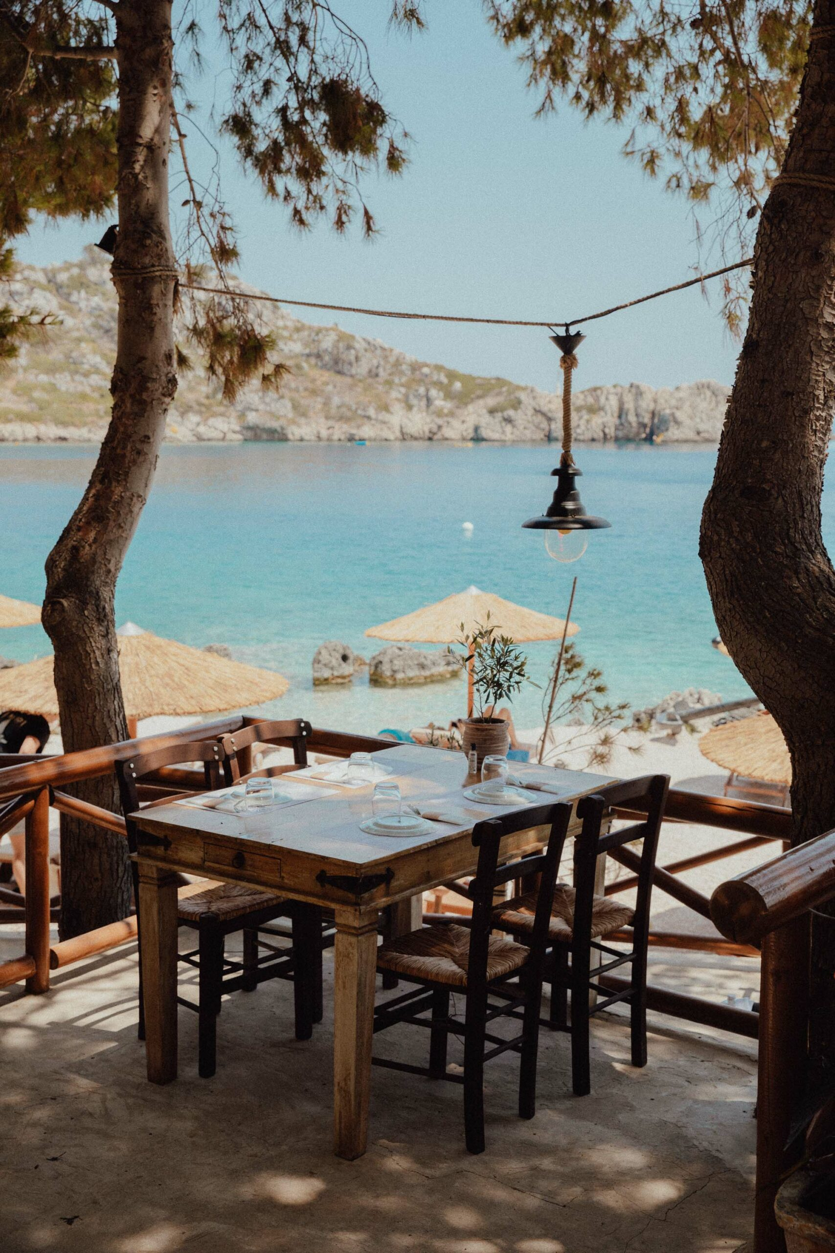 Tables by the water at Nobelos bio restaurant in Zakynthos Greece