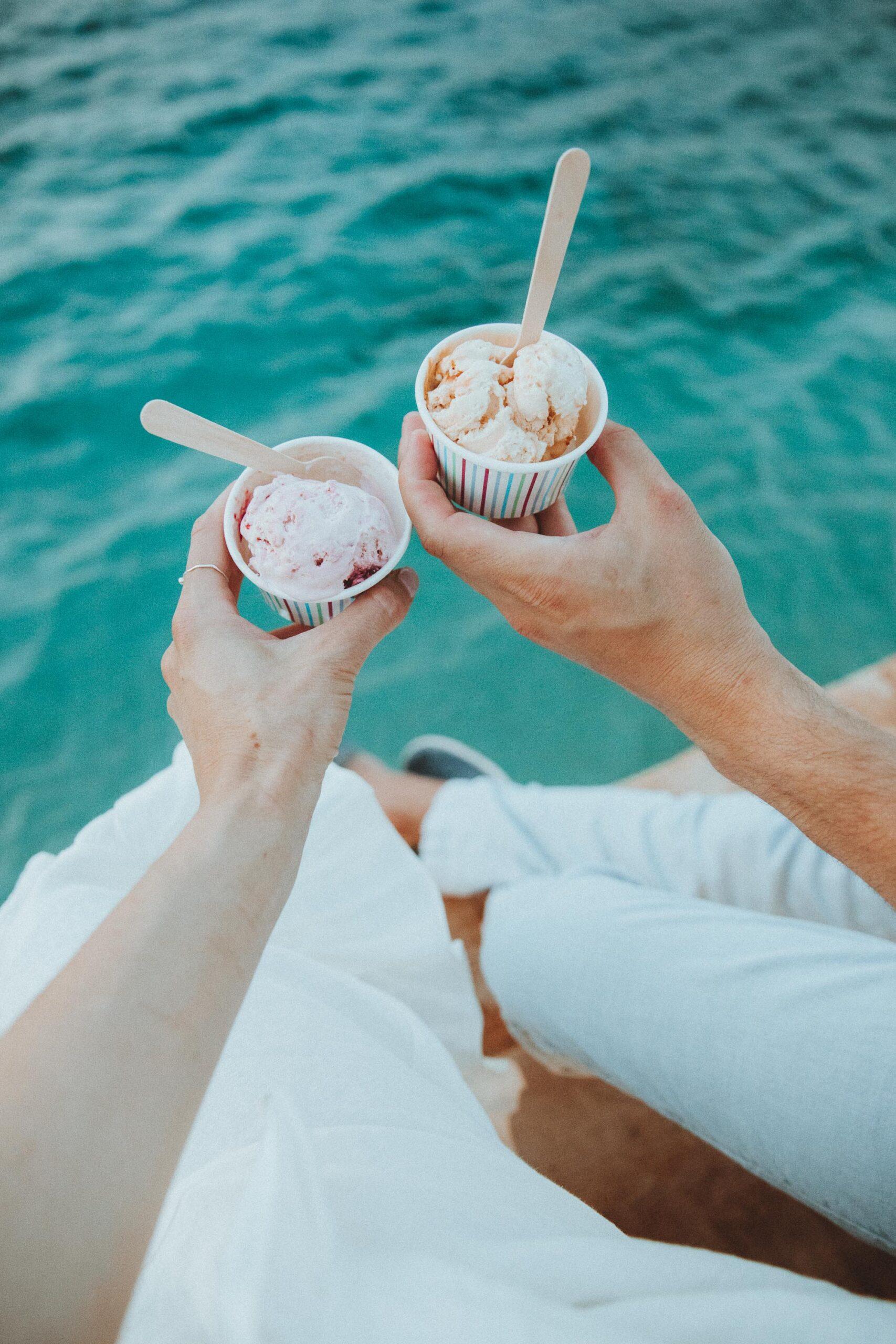 Homemade ice cream from Nobelos restaurant in Zakynthos Greece