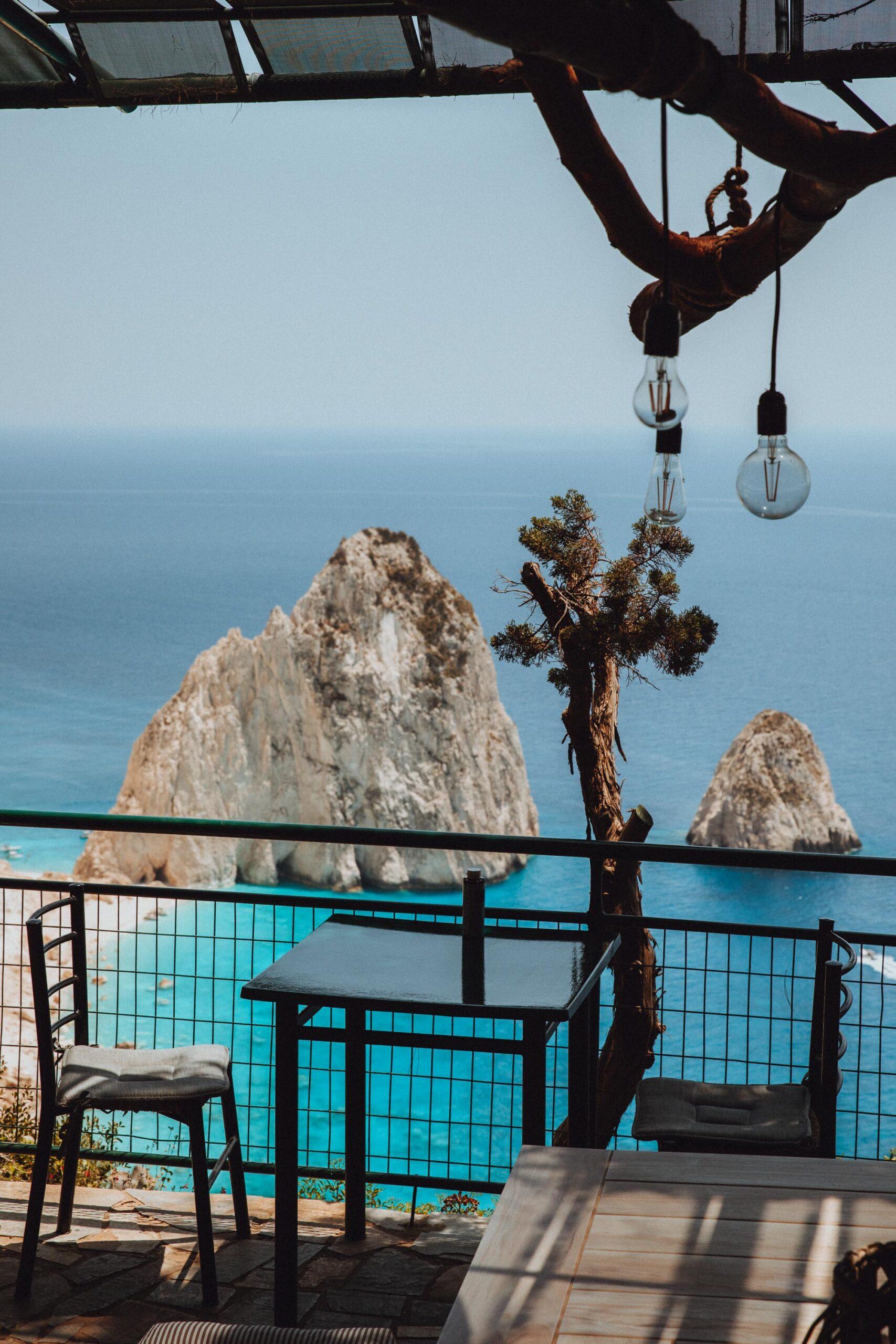 Keri lighthouse restaurant for views of Mizithres in Zakynthos Greece