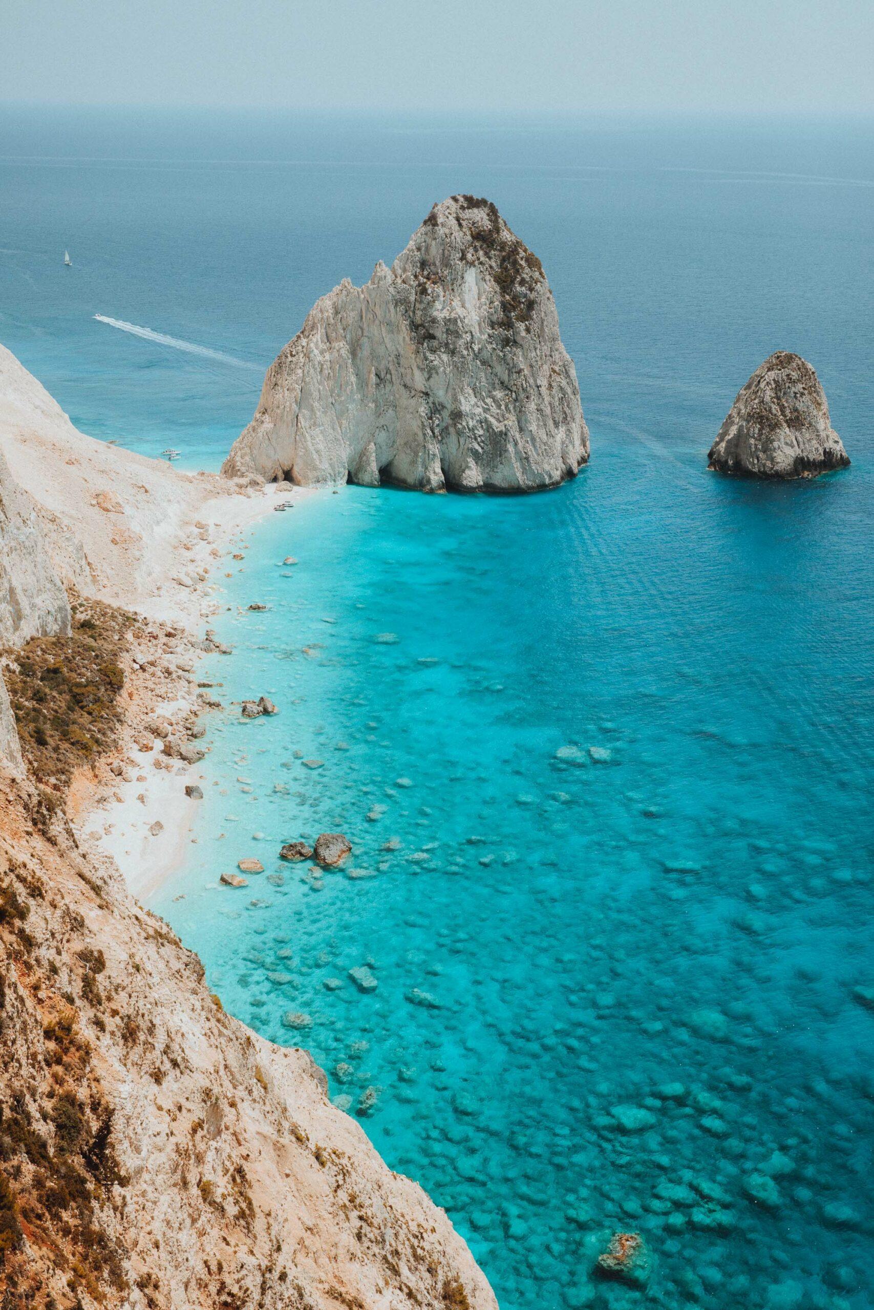 Mizithres beach from above in Zakynthos Greece