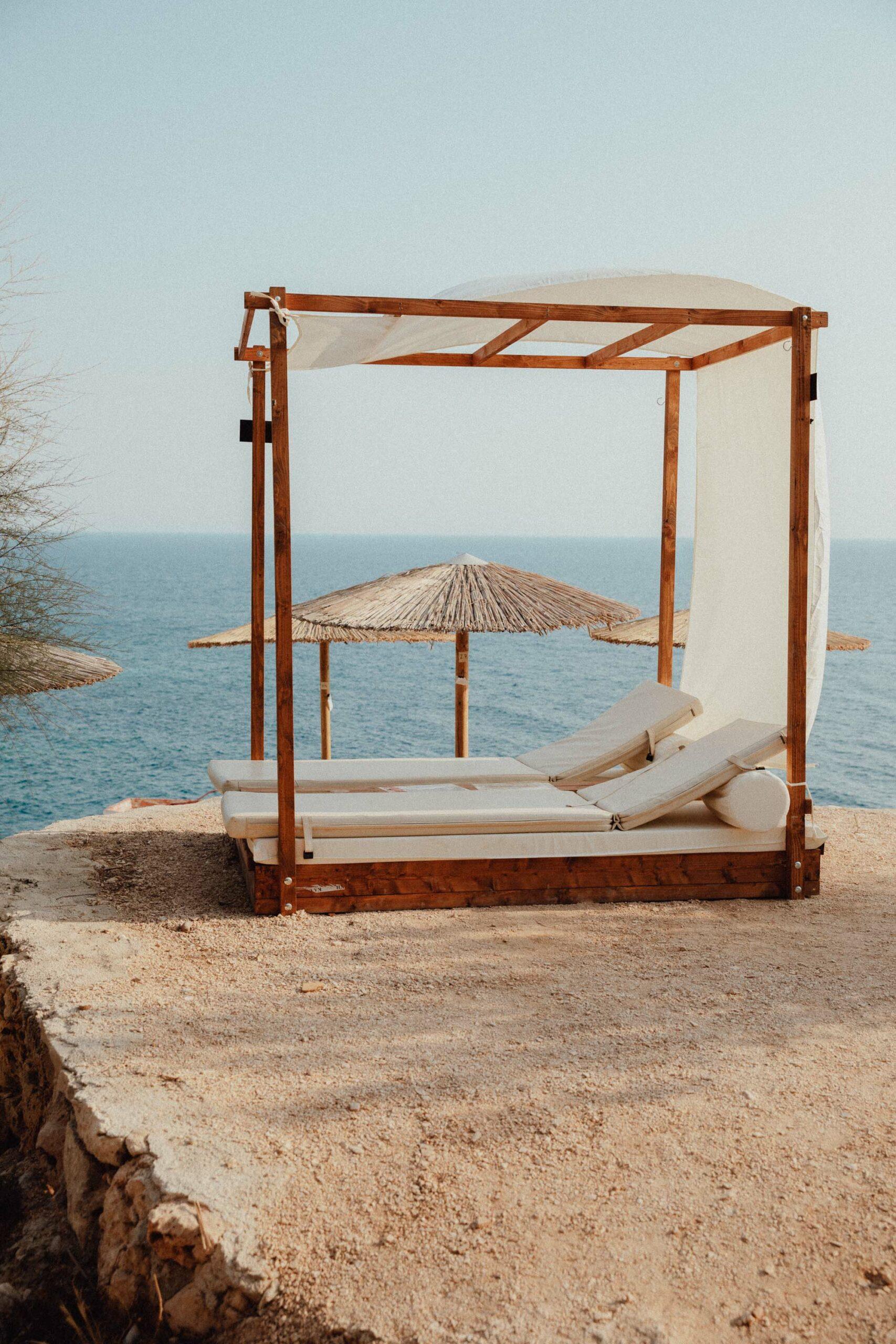 Porto Limnionas beach for local swim and food in Zakynthos Greece